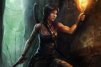 Lara Croft Raider Tomb Torch Cave Water