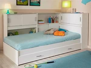 Lit BASILE rangement tiroirs 90x190cm Blanc option matelas
