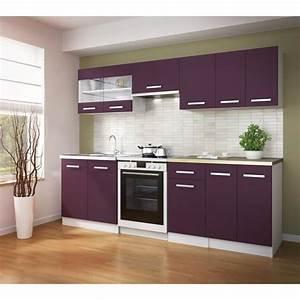 Plan De Travail 3 M : ultra cuisine compl te avec plan de travail l 2m40 aubergine mat achat vente cuisine ~ Farleysfitness.com Idées de Décoration