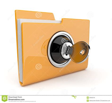 Yellow Folder And Lock. Data Security Concept. 3d Stock