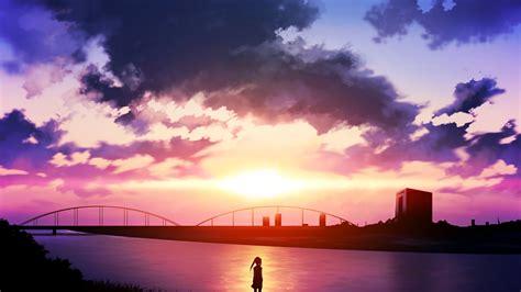 anime sunset river sky clouds wallpapers hd desktop
