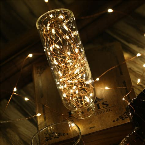 led string lights with remote 5m led copper wire warm white string light battery