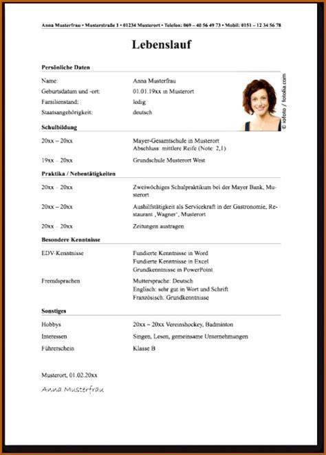 Beispiel Für Einen Lebenslauf by 14 Vordruck Lebenslauf Vorlagen123 Vorlagen123