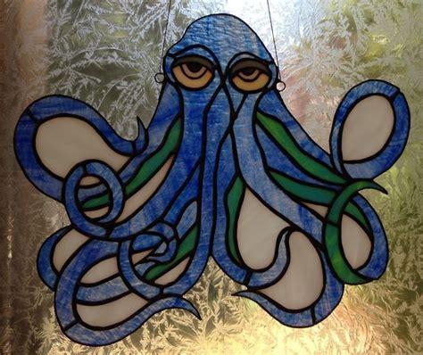 stained glass blue kraken octopus suncatcher