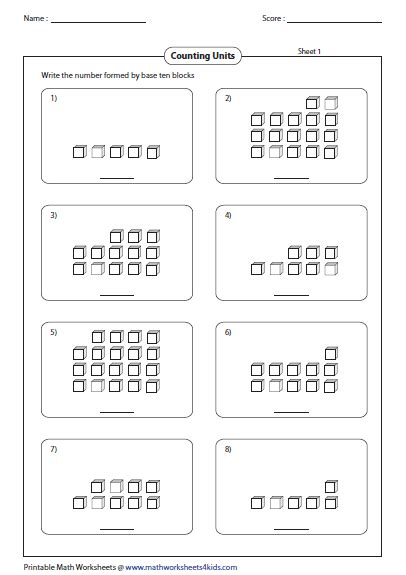 base ten blocks worksheets
