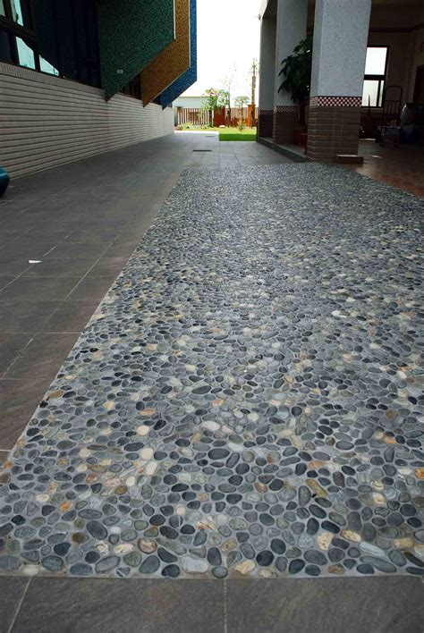 ideas awesome sliced pebble tile   floor  wall