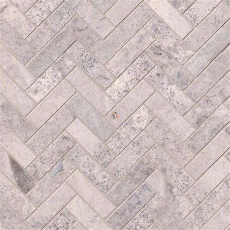 Tile On Tile by Buy Silver Travertine Herringbone Pattern Honed