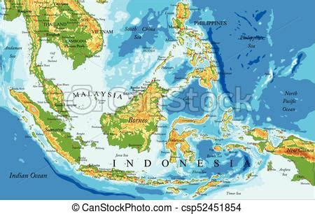 indonesia physical map highly detailed physical map
