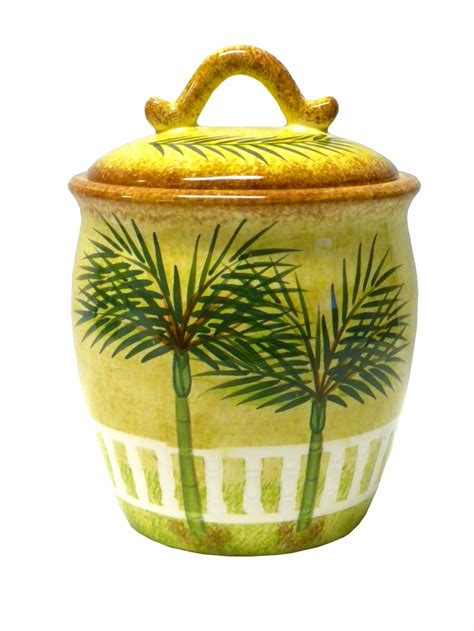 canisters kitchen decor ceramic palm tree tropical theme canister kitchen