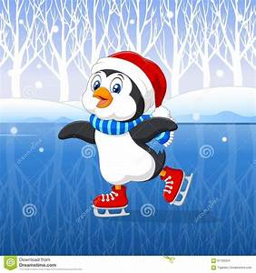 Cute Cartoon Penguin Doing Ice Skating With Winter