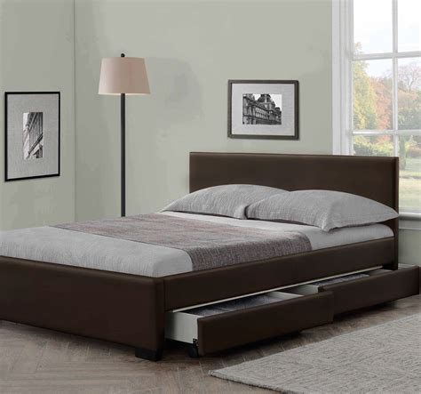 Bed Size by Modern Italian Designer 4 Drawer Leather Bed Luxury