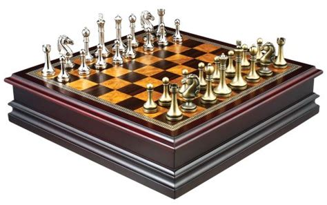 Grace Chess Inlaid Wood Board Game With Metal Pieces