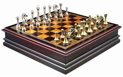 Chess Pieces Board Metal Wood Inch Inlaid