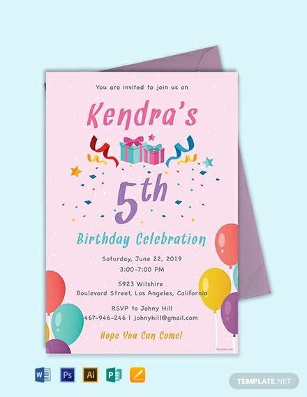 birthday invitation template word psd