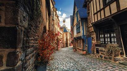 Street France Dinan Town Wallpapers Brittany Houses