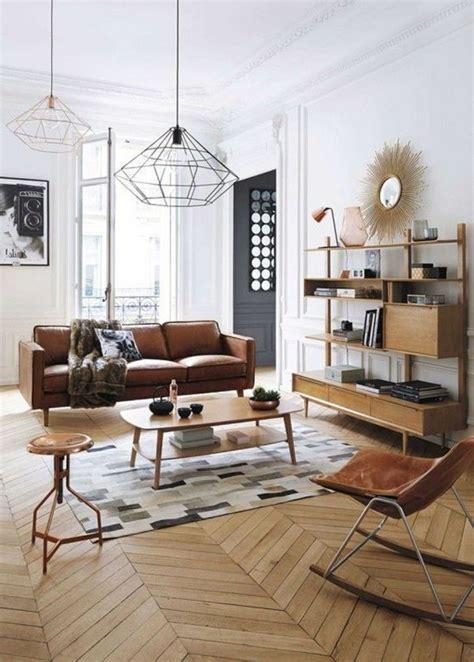 salon canapé marron idee deco salon classique canape en cuir marron sol en