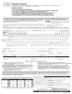 aqha transfer form fill printable fillable