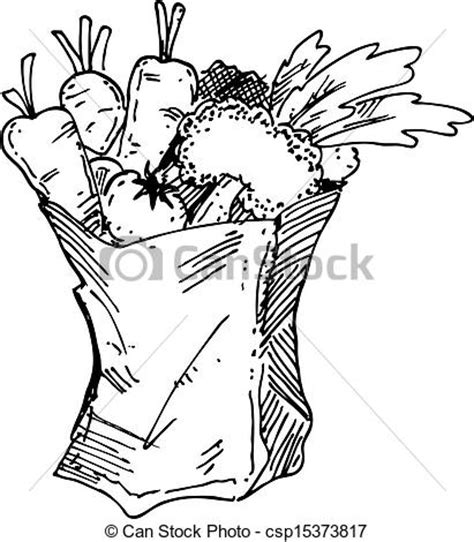 grocery clipart black and white vector clip of grocery bag csp15373817 search