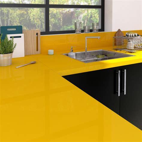 parquet pour cuisine plan de travail stratifié jaune serin brillant l 300 x p
