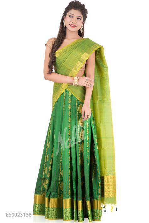 green kanchipuram silk half saree