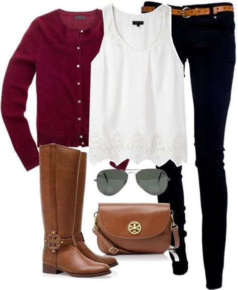 Polyvore preppy - Google Search   Preppy Outfits   Pinterest   Burgundy cardigan Ootd and ...