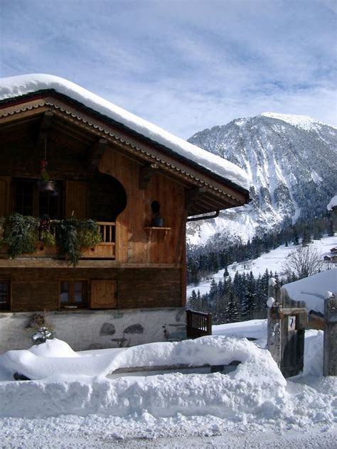 stock photo  typical wooden alpine lodge