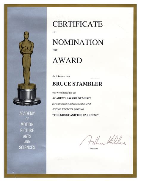 lot detail academy award nomination certificate