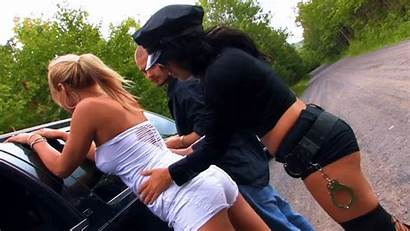 Cosplay Police Threesome Fucking Female Gifs Outdoors