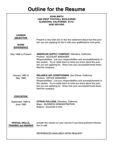 Outline Of Resume by Resume Outline Letters Free Sle Letters