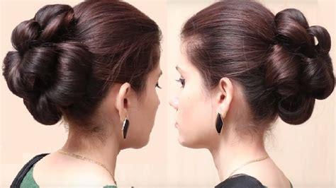 flower bun hairstyle  girls easy hairstyle  long