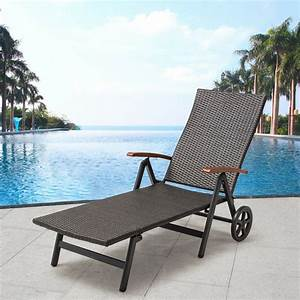 Outdoor, Patio, Yard, Wicker, Rattan, Adjustable, Folding, Chaise, Recliner, Lounge, Chair