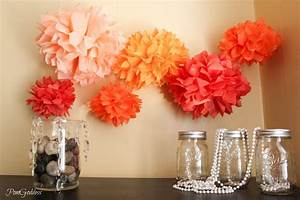 tissue poms for wedding reception decor orange pink coral With coral color decorations for wedding