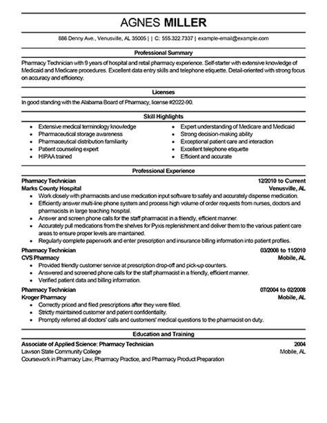 best pharmacy technician resume exle livecareer