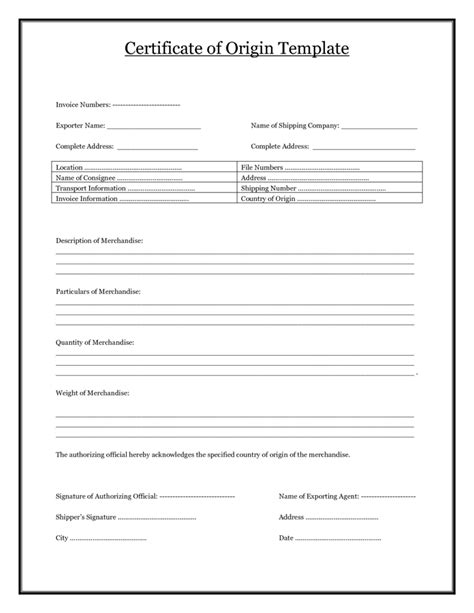 certificate of manufacture template certificate of origin template certificate templates