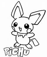Pichu Coloring Pages Pikachu Pokemon Colouring Printable Line Getcoloringpages Getcolorings sketch template