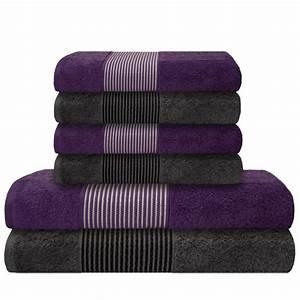 Handtücher Set Grau : 6 tlg handtuch set 2 duscht cher badet cher 4 handt cher lila grau ~ Indierocktalk.com Haus und Dekorationen