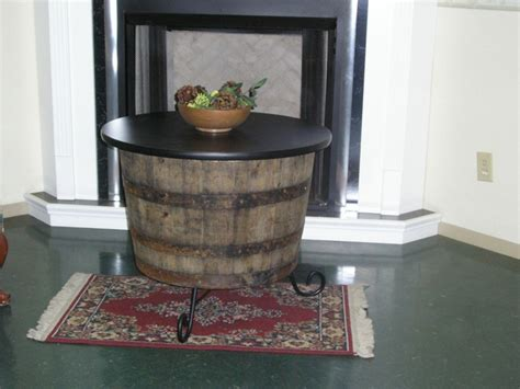 half wine barrel table half whiskey barrel coffee table end table 30 quot black table