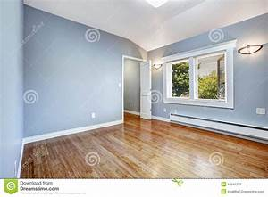 Empty Bedroom With Light Blue Walls Stock Image - Image of ...