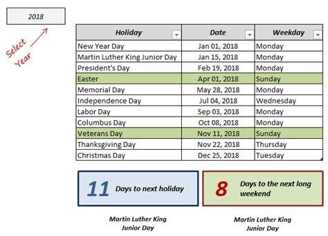 Excel Holiday Calendar Template (free Download