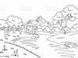 River Mountain Landscape Sketch Illustration Graphic Vector Coloring Cartoon Russia Computer sketch template