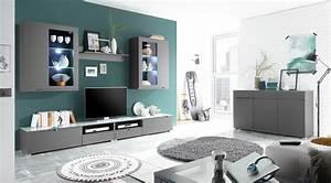 Sideboard Grau Matt : wohnwand wohnzimmer set 6 tlg grau matt sideboard satinierte glasplatte ebay ~ Indierocktalk.com Haus und Dekorationen