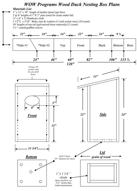 plans  wood duck nesting box