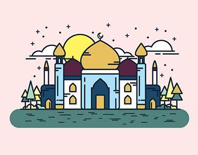 hari raya aidilfitri illustrations ilustrasi seni kartu