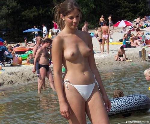 Large Ginger Student In Micro Thong #Topless #Beach #Pictures