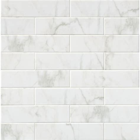 ceramic wall tile ms international marmi blanco white 4 in x 16 in glazed ceramic wall tile nhdmarbla4x16 the