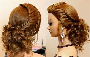 Hairstyle for long hair tutorial Cute prom updo with braids YouTube