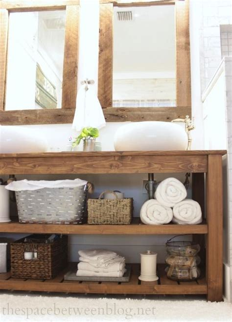 reclaimed wood floating shelves australia 34 rustic bathroom vanities and cabinets for a cozy touch