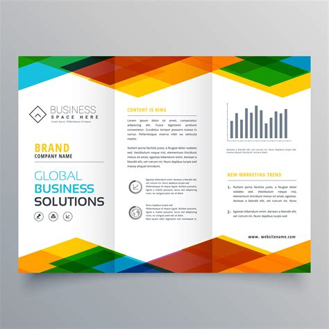 Brochure Design With Trifold Colorful Template Trifold Brochure Design Made With Colorful Geometric