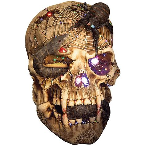snake eyed fiber optic skull halloween decoration