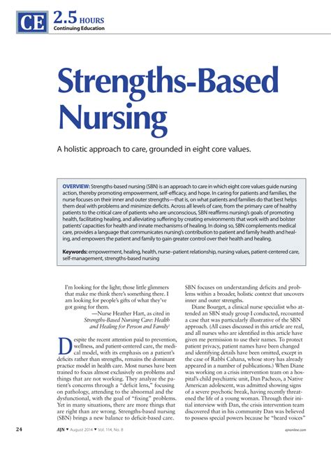 strengths based nursing  holistic approach  care
